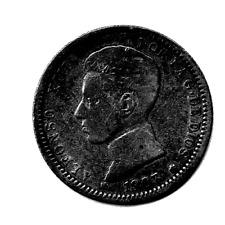 SPAIN - 1 PESETA, 1903 - SILVER (.835, .1342 OZ. ASW)