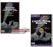 100 BCW Resealable Silver Bags & Backing Boards
