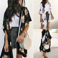 ZANZEA Women Holiday Floral Cardigan Summer Beach Long Tops Blouse Coat Sunblock