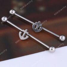 2pcs Silvery Punk Steel Anchor Industrial Barbell Ball Ear Ring Body Piercing