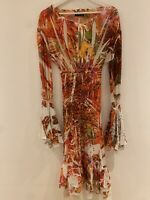 ORANGE MULTI BEADED DRESS M SUMMER BEACH HOLIDAY IBIZA MARBS PRETTY PARTY GLAM