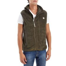 Bench - Mens M - NWT - Army Brown Asymmetrical Zip Sherpa Fleece Vest Jacket