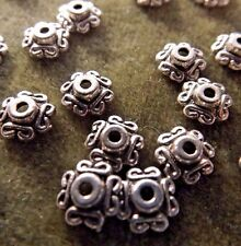 INDIAN DESIGNED BEAD CAP TIBETIAN SILVER 6MM 50 PIECES
