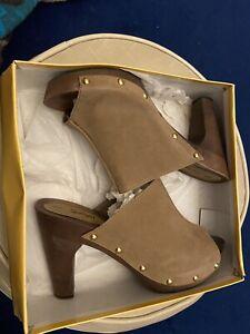SPORTSGIRL STRUTT...Womens Peep Toe Clog Mushroom Size 9 RRP $99.95 New With Box