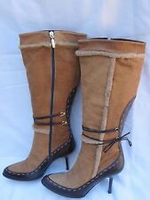 MICHELLE-K SHEARLING TRIM BOOTS Brown Upper Leather Suede SN30192 Italy Sz 7