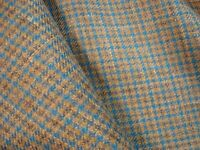 """3 yds English WOOL Linen Silk Fine Suiting FABRIC 8.5 oz  Toffee Check 108"""" BTP"""