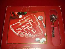 "New in Box!!, Stunning ""LENOX HOLIDAY CHRISTMAS TREE CANDY DISH w/BONBON SPOON"""