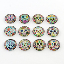4 Glass Cabochons Glass Flatbacks 20mm Sugar Skull Flat Glass Circles Domed
