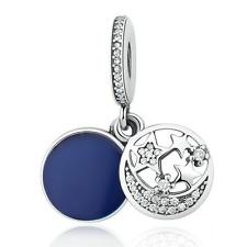 Fine sapphire Star Moon CZ Clear Pendent Charm Bead Fit  European Bracelet