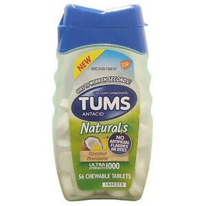 Tums Naturals Calcium Carbonate 1000 mg Antacid, Coconut Pineapple, 56 Tablets