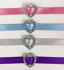 50 Acrylic 'Heart' Ribbon Slider Buckle 1.9cm Scrapbooking Wedding Invitations