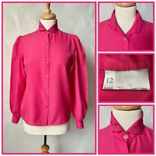 Vintage 1980s Bhs Pink Polyester Blouse Lacy Collar Edwardian Style Size 12