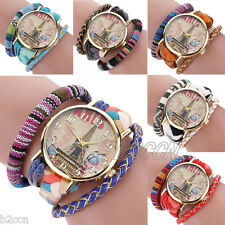 Fashion Bracelet Watch Ladies Tower Prttern Leather Casual Wrist Watches Digital