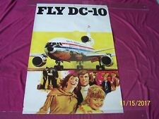""""""" FLY-DC-10 """" McDonald Douglas G. Akimoto art 1970 ROLLED Airline travel poster"""