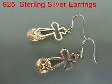 100% 925 Sterling silver earrings, Dangle earrings (Cross) CZ Amber stones OZ21