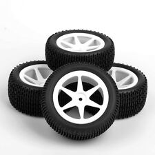 4Pcs Set Front Rear Rubber Tires Wheels Rims For RC 1:10 Off-Road Buggy Car