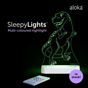 Brand new in box Aloka T Rex sleepylights multi coloured night light and remote