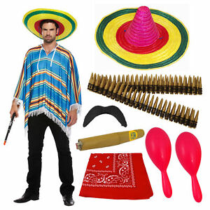 Adult Mexican Fancy Dress Costume Poncho Sombrero Maraca Bullet Stag Do Outfit