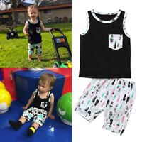 Toddler Baby Boys Sleeveless T-Shirt Vest Top+Shorts Pants Clothes Outfits Set