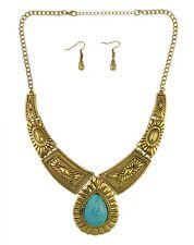 Woman Fashion Vintage Silver Gold Turquoise Pendant Choker Necklace+Earring 1Set