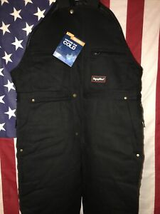 RefrigiWear Men's Insulated High Bib Overalls Style 0685R Black Size Large NWT!!