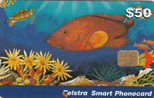 Phonecard Australia $50 Groper fish chip card exp 02/2001, scarce card