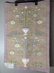Shyam Ahuja 100% Cotton Handloom Dhurrie Pastel Color 2' x 3' Handmade In India