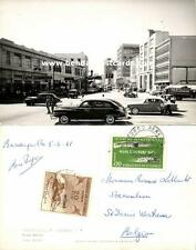 colombia, BARRANQUILLA, Paseo Bolivar, Cars, Taxi (1961) RPPC, Stamps