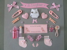 *24* BABY GIRL *Daughter* CARD MAKING EMBELLISHMENTS, TOPPERS. GIRL SCRAPBOOKING