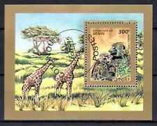 Animaux Girafes et Singes Bénin (3) bloc oblitéré