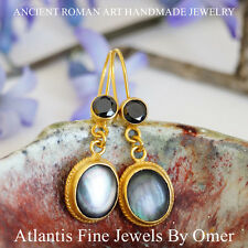 MOTHER OF PEARL HANDMADE EARRINGS 24K YELLOW GOLD OVER 925k SILVER By OMER