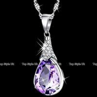 925 Sterling Silver Amethyst Necklace Birthday Gifts for Her Women Mum Wife J362
