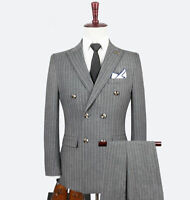 Men's Double-breasted Gray Pinstriped 3 Pieces Suits Peak Lapel Groom Tuxedos