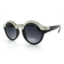 Unique Round Sunglasses Womens Fashion Metallic Top Circle Frame BLACK SILVER