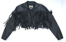 PELLE CUIR Vintage 80s BLACK Cropped LEATHER JACKET with TASSELS Small BOHO CHIC