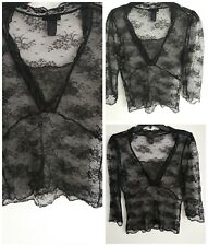 The Limited Women's Top Boho Sheer Small Blouse Nylon Shirt Black Lace NWOT