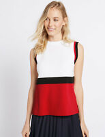 MARKS & SPENCER RED WHITE BLACK COLOUR BLOCK SLEEVELESS JUMPER / TOP 10 to 22