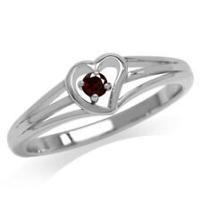 Natural Garnet Gold Plated 925 Sterling Silver Heart Casual Love Ring SZ 8