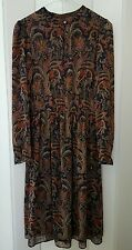 ZARA WOMEN BROWN LONG SLEEVE DRESS WITH PRINT SIZE S