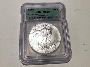 1999 Silver American Eagle ICG MS69 A19.25