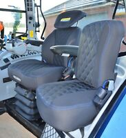 New Holland Tractor Driver & Side Tailored Seat Covers Black & Blue With Logo