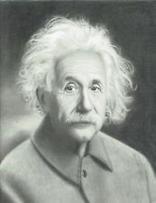 Portrait of Einstein hand-drawn pencil 9x12 fine art signed by Brian Babinski