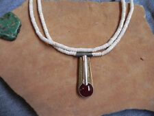 White Clamshell Heishi Necklace w Carnelian & Sterling Silver Pendant Navajo