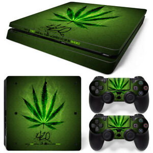 Marijuana Skin for Playstation 4 PS4 SLIM Console &2 Controllers Cannabis Decal