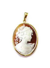 18K Yellow Gold Cameo of Goddess Charm Necklace Pendant
