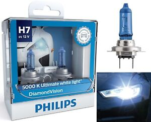 Philips Diamond Vision White 5000K H7 55W Two Bulbs Head Light Low Beam Upgrade
