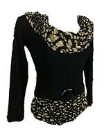 Vintage Joseph Ribkoff Black Tan Cheetah Scoop Neck Blouse Size 8 F525