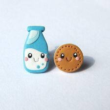 Funny Regalos para niñas amigos Traje de Leche y Galletas Mini joyería Pendientes de alimentos