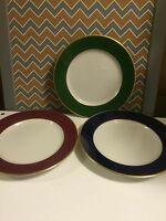 "VINTAGE SET 3 SHENANGO CHINA ""LOGO"" DINNER PLATES BLANK RED GREEN BLUE"