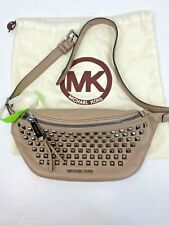 Michael Kors Fanny Pack Rhea Pyramid Studded Dark Taupe Leather Belt Bag B2C